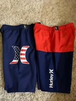 New Hurley Swim Shorts Trunks Board Short Boys Red Blue Americana XL