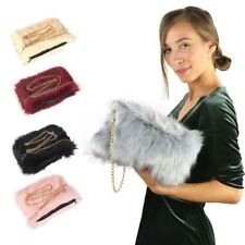 New Women Lady's Shoulder Faux Fur Fluffy Bag Gold Chain Zip Bag Purse Uk