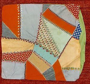 "Vintage Crazy Quilt Pillow Case or Cover -- 20"" x 20"""