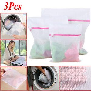 3 x Zipped Laundry Washing Mesh Net Clothes Bra Sox Underwear Machine Wash Bags