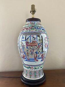Large Antique Chinese Canton Famile Rose Porcelain Baluster Vase Table Lamp