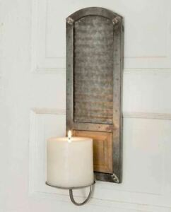 Vintage Rustic Country Tin Washboard Pillar Wall Mount Candle Holder/sconce