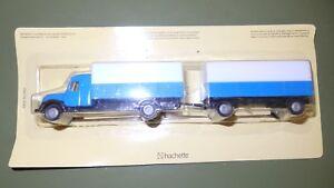Ho 1:87 Camion Avec Benne et Remorque Livrée Bleu Et Thé Blanc