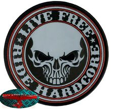 RIDE HARDCORE BIKER Patch reflektierend groß Aufnäher Aufbügler Backpatch Harley