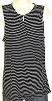 Ann Taylor Women's Black & White Striped Sleeveless Stretch Top Size Medium