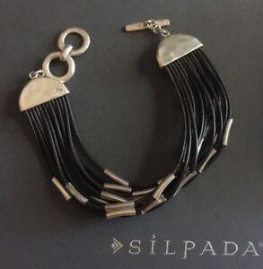 Silpada 925 Sterling Silver Leather Strands Speed Of Light Bracelet Retired EUC