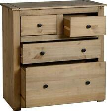 Panama Solid Wood Pine 2 + 2 4 Drawer Chest Cabinet Storage In Natural Waxed
