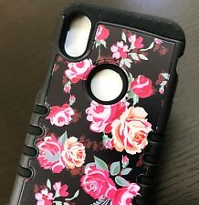 iPhone X / XS - Hybrid HARD&SOFT Rubber Armor Case Cover Pink Black Flower Roses