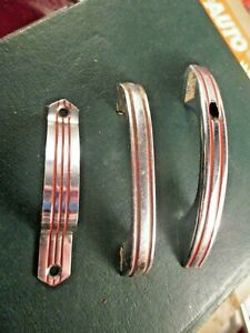 Vintage 1940's? CHROME Steel Drawer Pull  Ribbed Cabinet Door Handles lot