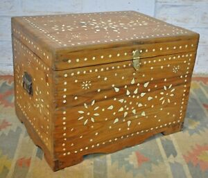Antique Teak Wood Big Size Storage Chest Coffee Table Box Hand Carved Inlay