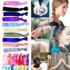 30Pc Candy Color Elastic Ponytail Holder Girls Ribbon Hair Ties Knotted Hairband