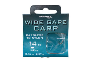 DRENNAN - WIDE GAPE CARP - SPADE END - BARBLESS HOOKS TO NYLON