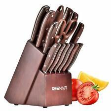 Kitchen Knife Set 15 Piece & Block Wooden with Sharpener &German Stainless Steel