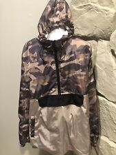 Distortion Clothing Mens Large Camouflage Pull Over Rain Jacket With Hood Pock