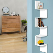 5-Tier Corner Wall Shelf Display Mount Shelves Storage Books DVD CD Zig Zag