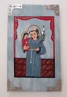 """New Mexican Folk Art Retablo San Antonio de Padua 12"""""""