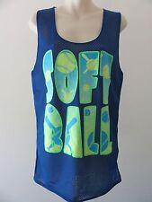 SOFTBALL Ladies Tank Top SMALL Teen Girl's Mesh Athletic Sport Top Blue Tie Dye