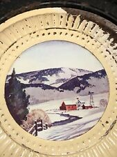 Original Stove Pipe Flue Cover Farm Scene In Winter time windmill