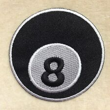 BLACK BILLIARD 8 BALL POOL GAME EMBROIDERY IRON ON PATCH BADGE