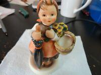 Hummel Goebel Figurine On Holiday 350 Little Girl with Basket and Umbrella
