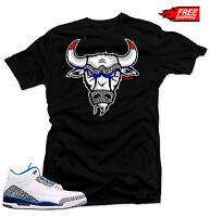 "Shirt to match  Air Jordan Retro 3 True Blue sneakers ""The Bull"" Black Tee"