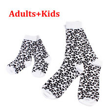 Lovely Leopard Printed Cotton Long Socks Parent-child Family Sets Gifts Kids Adults