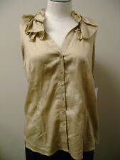 Sunny Leigh Petite Ruffled Neck Button Shirt PL NWT $59