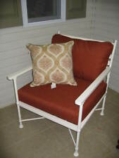 Pottery Barn Potrero Outdoor White Iron Patio Occasional Sofa Lounge Arm Chair