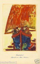 Fischerboot Kunstdruck von 1927 Artur Nikodem Insbruck Trient Fischer Segelboot