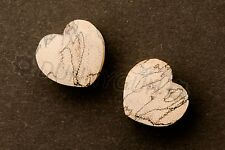 0G Pair Spalted Tamarind Heart Shaped Wood Gauged Earring Plugs Dunnygun 0 gauge