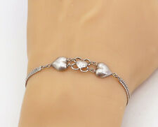 925 Sterling Silver - Vintage Love Heart Double Strand Chain Bracelet - B7958