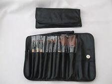 10 piezas cepillos de maquillaje Conjunto de regalo en Suave Imitación Cuero Pouch NEW