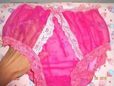 Handmade Granny knickers panties full pink nylon sheer sissy mens 36 - 44 inch
