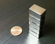 "5 Neodymium N52 Block Magnets. Super Strong Rare Earth 3/4"" x 1/2"" x 3/8"""