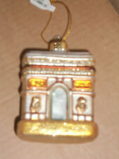 Blown Glass LandMark Christmas Ornament Building, House NEW