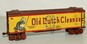 O SCALE WOOD HAND PAINTED OLD DUTCH CLEANSER REEFER CAR TWO RAIL 1930,S