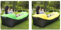 Camping Lazy Bed Sleeping Bag Inflatable Air Sofa Portable Beach Lounger Yellow