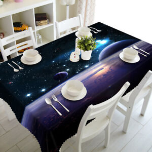 Dustproof Tablecloth Cosmic Starlight Planets Home 3D Printed Table Cloth Cover