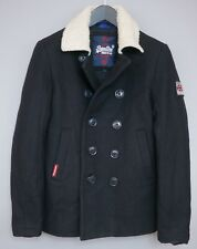 Men Superdry Pea Coat Navy Double Breasted Wool Blend Formal Business S ZEA676