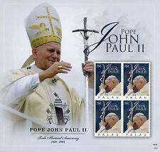 Palau 2015 MNH Pope John Paul II 1920-2005 10th Mem Anniv 4v M/S Popes Stamps