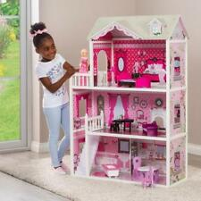 Doll House Large Kids Play Wooden Mansion With Furniture Set Fits Barbie Girls