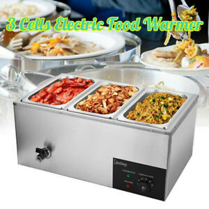 3 Cells Commercial Electric Food Warmer Bain Marie Steam Table Countertop 600W