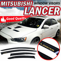 Fit 08-17 Mitsubishi Lancer Sedan Window Visors Slim Smoke Rain Vent Guard Shade
