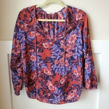 Rebecca Taylor Flame Floral Silk Red Blue Blouse LS Tie Neck Womens 2
