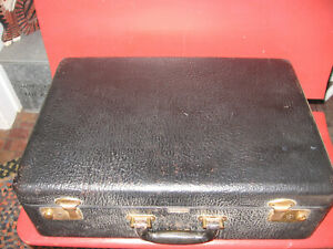 VINTAGE BLACK TOP GRAIN COWHIDE HARD SIDED SUITCASE LUGGAGE-MACY