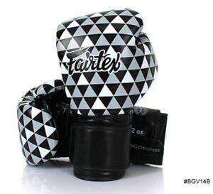 Fairtex Bgv14 Muay Thai Kick Boxing Gloves Sparring Training Punch Black& White