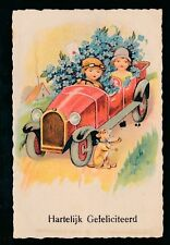 Motoring Transport Holland Dutch early car violets dog Congrats c1920/30s? PPC