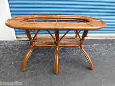 LG Bamboo Oblong Dining Table Base Rattan Cottage Shabby Chic Coastal Tropical