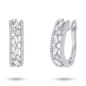 0.51 CT 14K White Gold Natural Baguette Cut Diamond Huggie Omega Back Earrings