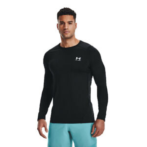 Under Armour Mens HG Fitted Long Sleeve Top Black Sports Running Breathable